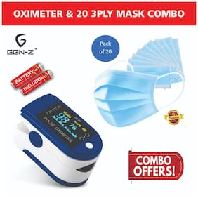 Gen-Z Finger Tip Oximeter with free batteries and 20 Surgical Mask Value Combo (Pack of 2)