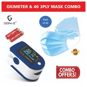 Gen-Z Finger Tip Oximeter with battery and 40 Surgical Mask value Combo (Pack of 2)