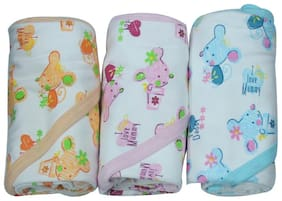 Genius Baby Cozy Soft Baby Hooded Towels I Love Mummy Print - MINT, PINK, PEACH (Pack of 3 Towels)