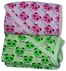 Genius Baby Cotton Hooded Towels for Toddlers Panda Print - GREEN, DARK PINK (Pack of 2 Towels)