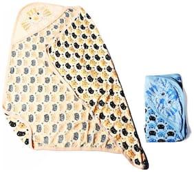 Genius Baby Hooded Towels for Newborn, Cat Print - Orange, Blue (Pack Of 2 Towels)