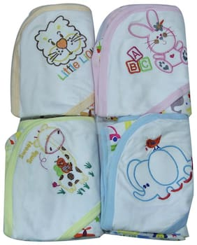 Genius Baby Newborn Baby Bath Hooded Towels, ABC Mix Print - PEACH, PINK, YELLOW, BLUE (Pack of 4 Towels)