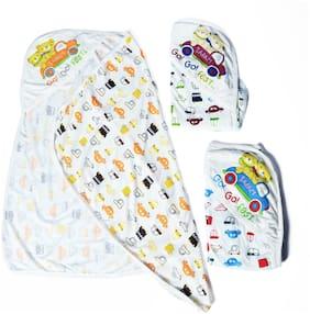 Genius Baby Gentle Hooded Towels For Newborn Car Print in Blue, Orange, Purple Colour (Pack Of 3 Towels)