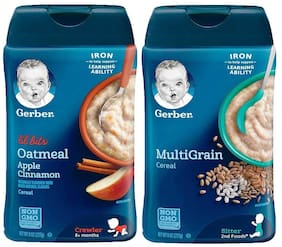 Gerber Cereal Combo   Lil Bits Oat Apple Cinnamon and Multigrain Cereal  (227g each)(Pack of 2)