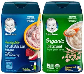 Gerber Cereal Combo   Hearty Bits Banana Apple and Organic Oatmeal  (227g each)(Pack of 2)