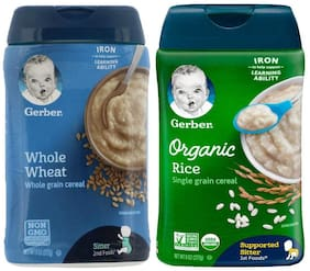 Gerber Cereal Combo Whole Wheat Cereal 227g, Organic Rice Cereal 227g (Pack of 2)