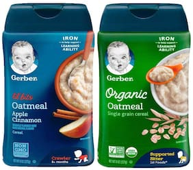 Gerber Cereal Lil Bits Oat Apple Cinnamon + Organic Oatmeal Cereal Pack of 2|(227g each)