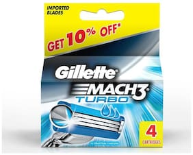 Gillette Mach 3 Turbo Manual Shaving Razor Blades (Cartridge) 4S Pack