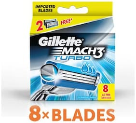 Gillette Mach 3 Turbo Manual Shaving Razor Blades (Cartridge) 8 pcs