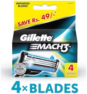 Gillette Mach 3 Sensitive Manual Shaving Razor Blades (Cartridge) 4S Pack