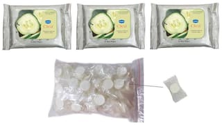 Ginni Clea Cleansing & Make Up Remover Wipes (Cucumber) (Pack of 3) (10 Wipes Per Pack) And Magic Coin Tissues (50 pcs) (Each In Single Pack)