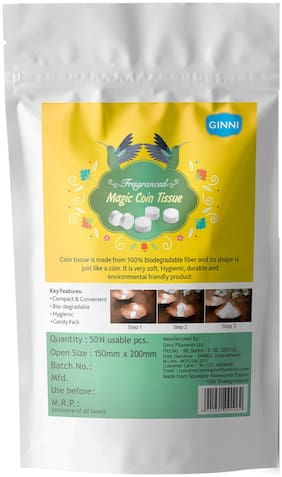 Ginni Fragranced Magic Tablet Coin Tissue (50 pcs) (Each Tissue Is In Candy Pack)