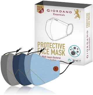 Giordano Cotton Anti-Pollution Multi-layered Reusable Outdoor Face Mask (Light Grey Blue Light Blue) - Pack of 3