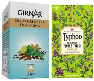 Girnar Desi Kahwa - 36 Tea Bags With Typhoo Three Tulsi - 20 Tea Bags