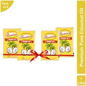 GKD's Premium Pure Coconut Oil, Pack of 4 Coconut Oil Pouch  (4 x 1 L)