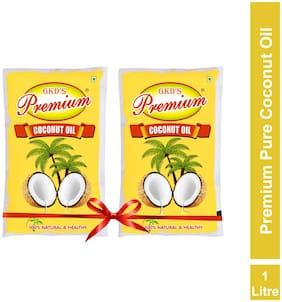 GKD's Premium Pure Coconut Oil, Pack of 3 Coconut Oil Pouch  (3 x 1 L)