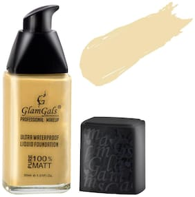 GlamGals Matte Finished Ultra Water Proof Liquid Foundation,30ml,Skin