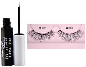 GlamGals Stylish Eye Lashes with Glue Transparent 6.5 ml