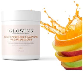Glowins Fruit Smoothing & Radiating Face Massage Scrub Fully loaded with Vitamin C & E and more for Rich Exfoliation,Nourish,Natural Radiant,Rid of Dry and Flakly Dead Skin Cell - 200g