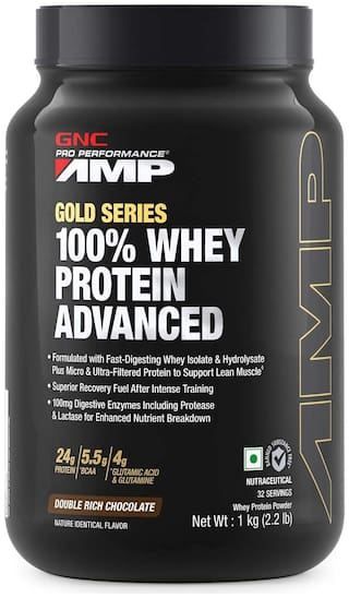 GNC Amp Gold Series 100% Whey Protein Advanced - 2.2 lbs, 1Kg (Double Rich Chocolate)
