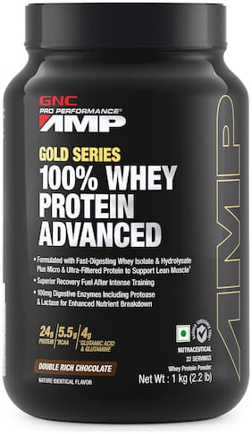 GNC AMP Gold Series 100% Whey Protein Advanced - 24g Protein, 5.5g BCAA, 4g Glutamine, 100mg Digestive Enzymes - 2.2 lbs, 1 kg (Double Rich Chocolate)