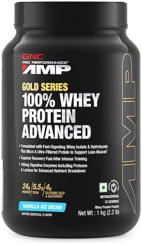 GNC AMP Gold Series 100% Whey Protein Advanced - 24g Protein, 5.5g BCAA, 4g Glutamine, 100mg Digestive Enzymes - 2.2 lbs, 1Kg (Vanilla Ice Cream)