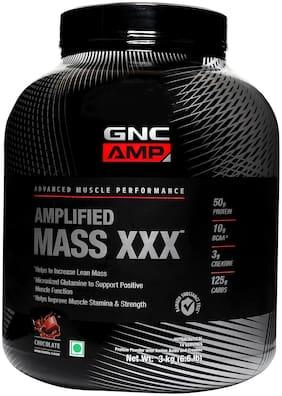 GNC AMP Amplified Mass XXX  - 50g Protein, 10g BCAA, 3g Creatine, 125g Carbs - 6.6 lbs, 3 kg (Chocolate)