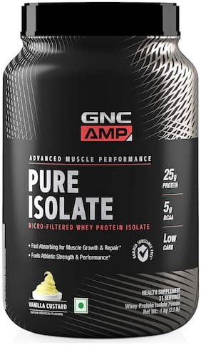 GNC AMP Pure Isolate - 25g Protein, 5g BCAA, Low Carb - 2.2 lbs, 1 kg (Vanilla Custard)