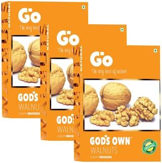 Go's Gods Own Organic Walnuts Light Broken 250g (Pack of 3)