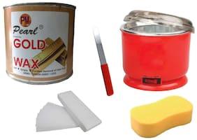 Gold Wax +90 Wax Stripes + Auto Cut Heater+Sponge+Applicator Waxing Kit 600 g Pack of 5