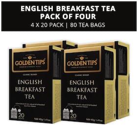 Golden Tips English Breakfast Tea - 20 Envelope Tea Bags (40g), Pack of 4