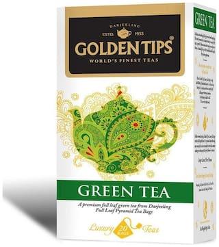Golden Tips Green Full Leaf Pyramid - 20 Tea Bags, 40g