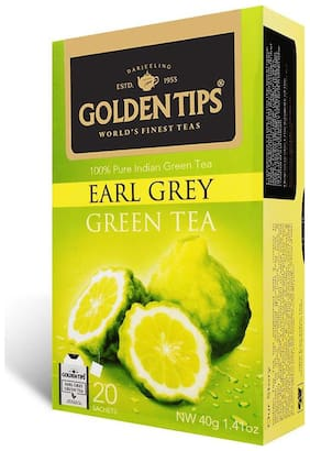Golden Tips Earl Grey Green Tea - 20 Envelope Tea Bags (40g)