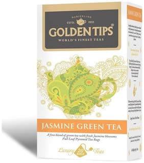 Golden Tips Jasmine Green Full Leaf Pyramid - 20 Tea Bags, 40g