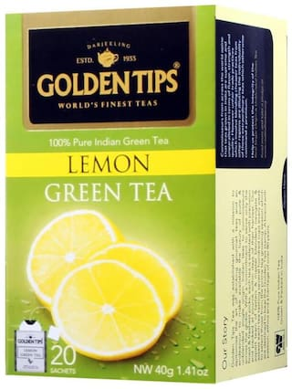 Golden Tips Lemon Green Tea - 20 Envelope Tea Bags (40gm)