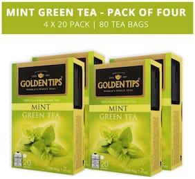 Golden Tips Mint Green Tea - 20 Envelope Tea Bags (40g), Pack of 4