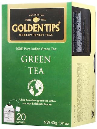 Golden Tips Pure Green Tea - 20 Envelope Tea Bags (40 g)
