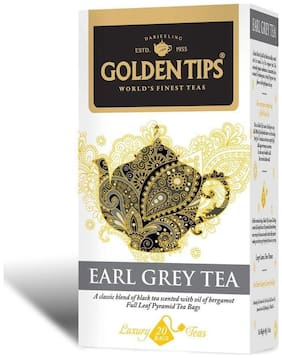 Golden Tips Earl Grey Full Leaf Pyramid - 20 Tea Bags, 40g