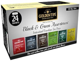 Golden Tips Black & Green Assortment Individual Envelope Tea Bags (4 x 6 Flavours = 24 Sachets)