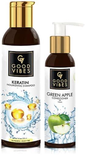Good Vibes Hair Combo Set of 2 (Keratin Shampoo 200 ml + Green Apple Conditioner 120 ml)