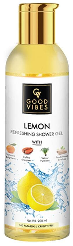 Good Vibes Lemon Refreshing Shower Gel with Satsuma for brightening Coffee for energizing Vetiver for hydration Sandalwood for soothing 200 ml (Pack Of 1)