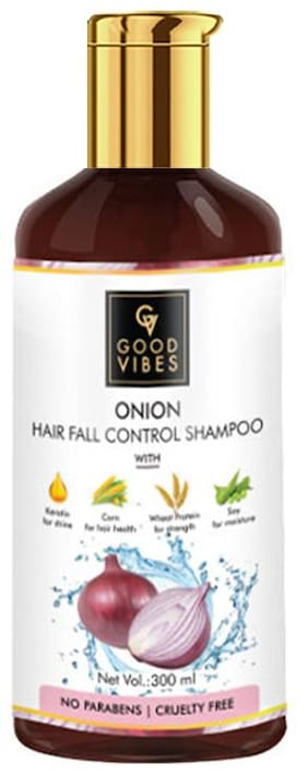 Good Vibes Onion Hairfall Control Shampoo with Keratin for Shine Corn for Hair Health Wheat Protein for Strength & Soy for Moisture (300 ml)