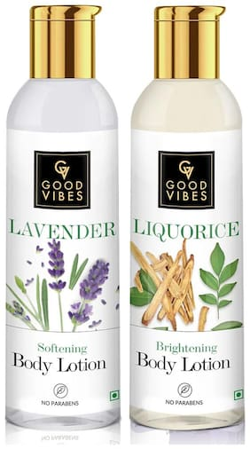 Good Vibes Softening Body Lotion - Lavender (200 ml) and Good Vibes Brightening Body Lotion - Liquorice (200 ml) Combo(Pack of 2)
