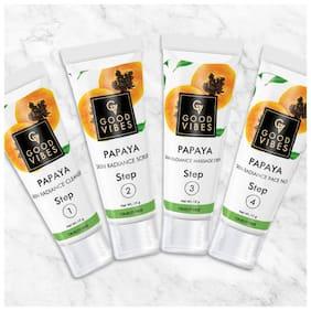 Good Vibes Skin Radiance Facial Kit - Papaya (40 g) (Pack of 4)