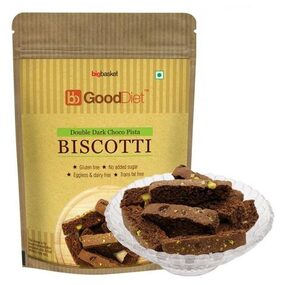 Gooddiet Biscotti - Double Dark Chocolate  Pistachio   Gluten free 150 gm