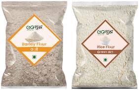 Goshudh Premium Quality Rice Flour 1kg & Barley Atta/Flour 1kg (Pack of 2)