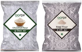 Goshudh Premium Quality Chestnut Flour/ Singhada 250 g & Ragi Atta/Flour 1kg