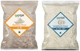 Goshudh Premium Quality Sorghum/Jowar Atta/Flour 500g & Barley Atta/Flour 500g (Pack of 2)