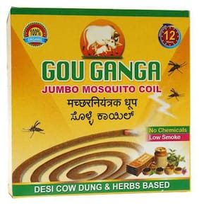 Gou Ganga Jumbo Mosquito Coil - 100% Herbal & Natural With 12 Hours Protection 10 pcs