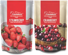 Gourmia Combo of Dried Strawberries & Dried Cranberries (Each 200g)